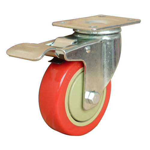 Red medium duty swivel caster with total brake